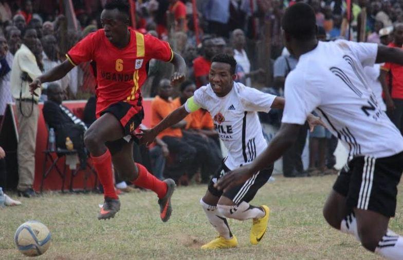 Uganda Cranes Keziron Kizitoin action against a Buganda Regional select side