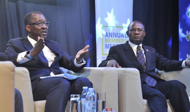 L-R: NSSF MD Richard Byarugaba and chairman Patrick Kaberenge.