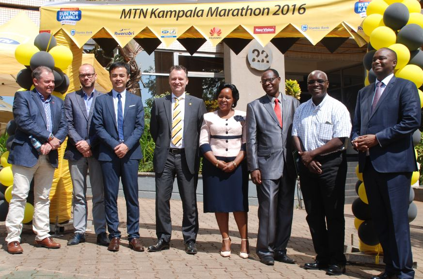 Partners pose for a group photo shortly after unveiling the 2016 MTN Marathon at MTN Towers.