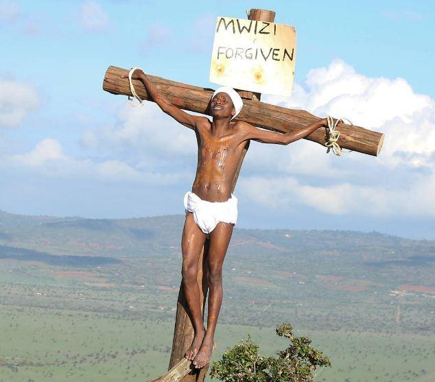 Comedian Eric Omondi on the cross
