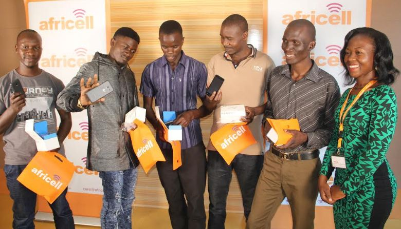 "Winners in the Africell ""Play Your Love"" Valentines promo pose with their goodies."