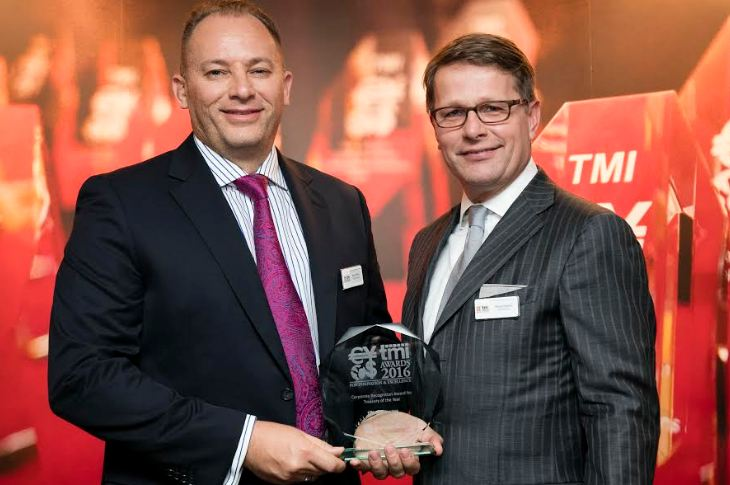Ricky Thirion, Group Treasurer at Etihad Aviation Group, pictured left, being presented with the 2016 Treasury of the Year award by Michiel Radder, EMEA Director Sales Management at BNP Paribas.