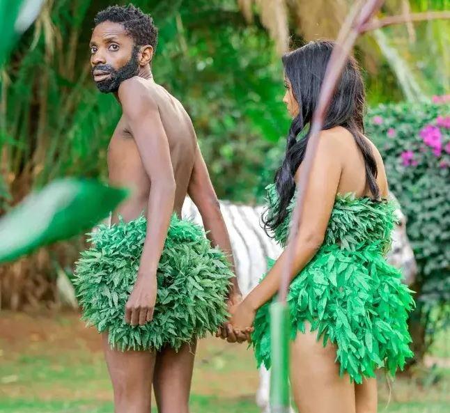 Eric Omondi and his girlfriend Chantal Juliet Grazioli play Adam & Eve in the garden of Eden.