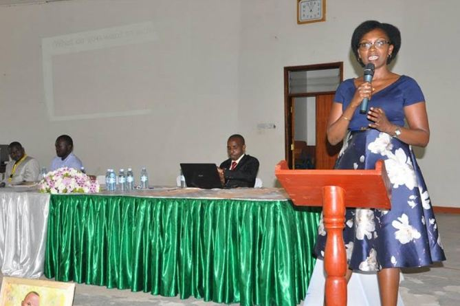 One of the keynote speakers addresses guests at the First Western Uganda Career Guidance Fair on Saturday.