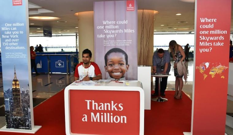 Emirates Skywards Thanks a Million ticket stand at the Dubai World Cup 2017.