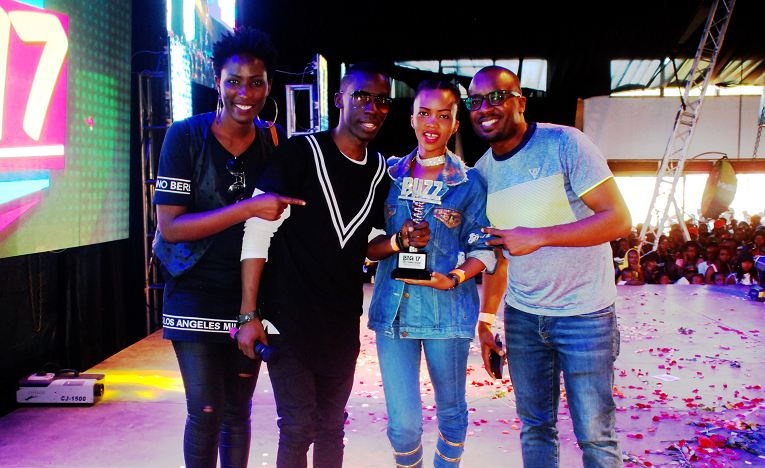 Douglas Lwanga and The Beat team at Buzz Teeniez Awards