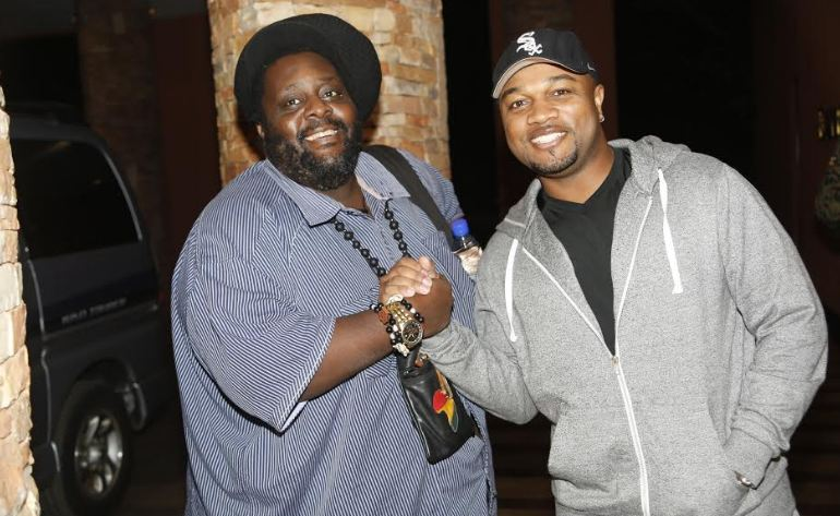 Marcus Anderson poses for a photo with Tshaka Mayanja on arrival for Jazz & Soul Safari concert