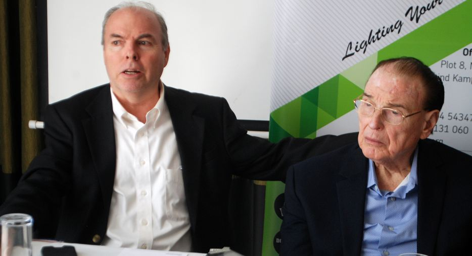 Gary Everret (L), LTV station manager and Robert Bob Nicholes, the chairman LTV addressing media.