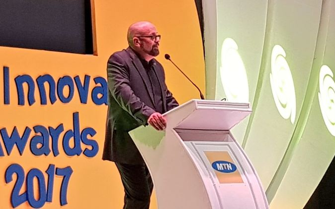 Olivier Prentout, the MTN Uganda Chief Marketing Officer addressing guests at the MTN Innovation Awards ceremony