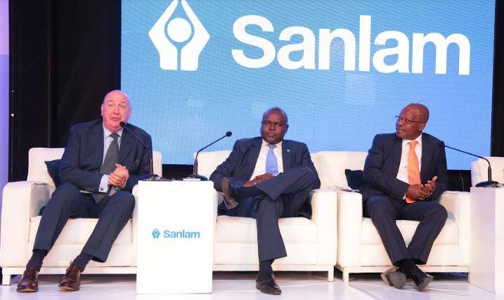Mr. Gary Corbit, C.E.O, Sanlam General Insurance Uganda(L), Mr. Julius Magabe(C), the Regional Executive SEM and Mr. Junior Ngulube(R), Chief Executive Officer -Sanlam Emerging Markets Proprietary addressing the press at Kampala Serena hotel