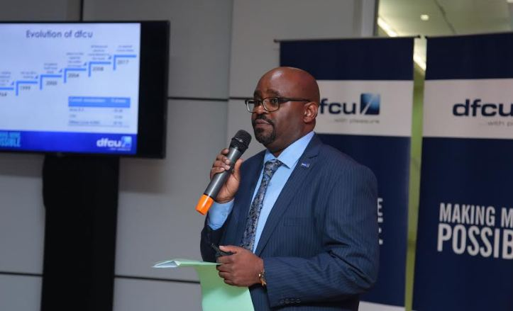 dfcu Bank's Head of Consumer Banking Denis Kibukamusoke speaking to guest during the accreditation event.