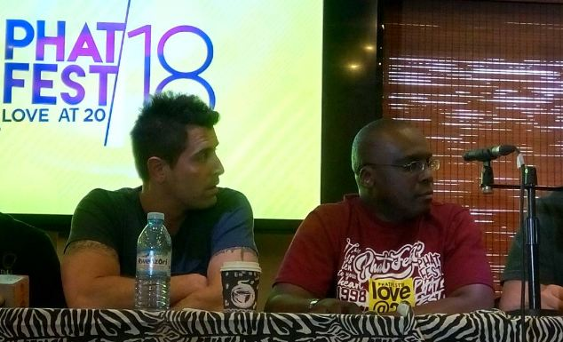 American singer Jeremy Camp (L) and Power FM Managing Director Richard Senkwale during a press briefing held on Wednesday.