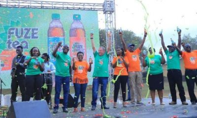 Coca-Cola team launching Fuze Tea at Cenentary Bottling company, Namanve.