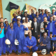 Eskom Uganda Managing Director Thozama Gangi celebrates with some of the the Eskom staff at Nalubaale Hydro Power plant after commissioning Unit 3.