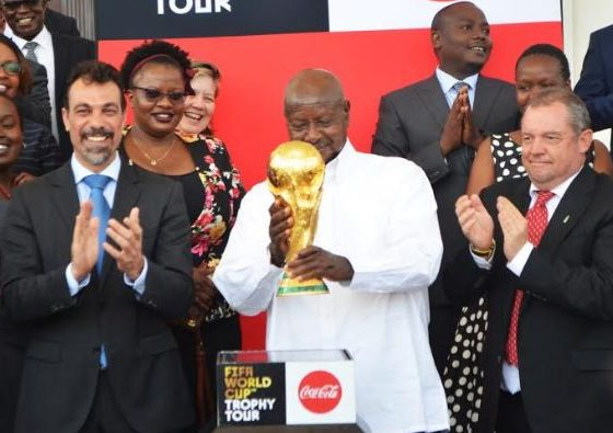 The FIFA World Cup™ Trophy Tour by Coca-Cola arrived in Kampala on Monday morning