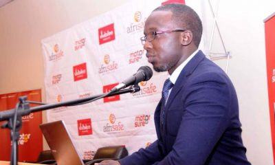 Sean Oseku, the Business Relations Manager Afrisafe Consultants speaks during the 3rd party Ku Simu launch.