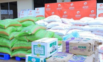 The foodstuffs to be given to the moslem community by Airtel Uganda during Ramadan.
