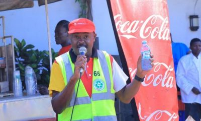 Coca-Cola Beverages Africa Public Affairs & Communications Director Simon Kaheru addressing media.