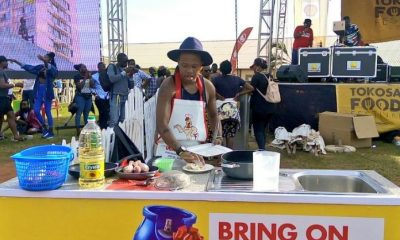 Denzel Mwiyeretsi during a celebrity cook-offheld at the Tokosa Food Festival
