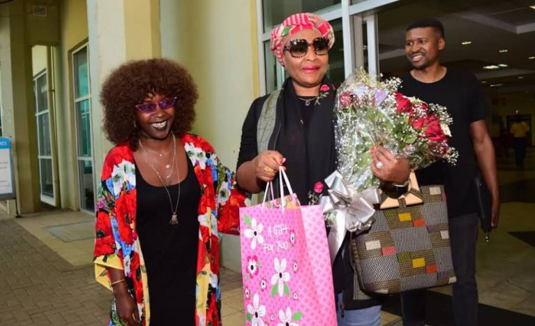 Anne Kansiime and Yvonne Chaka Chaka at the airport