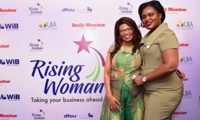 "dfcu WiB Manager, Victoria Byenka and Esther Muchemi CEO Samchi Group of Companies at the ""Rising Woman"" initiative launch"