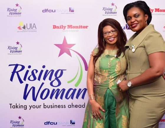 """dfcu WiB Manager, Victoria Byenka and Esther Muchemi CEO Samchi Group of Companies at the """"Rising Woman"""" initiative launch"""