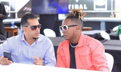 Talent Africa CEO Aly Alibhai shares a word with Beenie Gunter during the Artists Collaboration Conference.