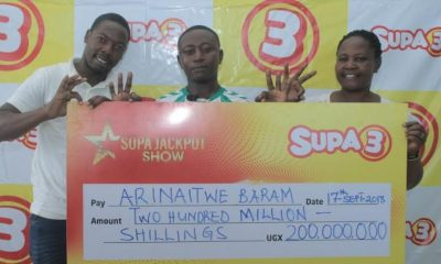 Mbarara based electrician Arinaitwe Baram is the lucky winner of the supa3 jackpot that totaled to 200 million shilling.