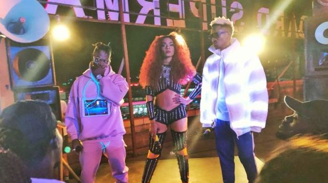 Fik Fameica, Rogue and A Pass during the Midnight Drum video shoot