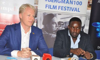 Samuel Sandberg, the Head of Administration at the Embassy of Sweden, and Polly Kamukama, the curator of the festival, address media.