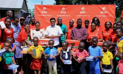 Airtel Uganda staff led by the Managing Director Mr. V.G. Somasekhar hand over necessities to ACCESS Uganda as part of 12 Days of Christmas initiative.