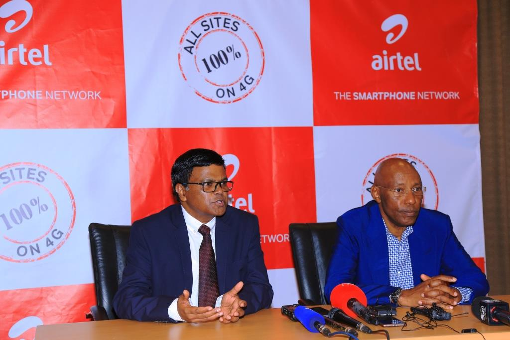 Airtel MD V.G. Somasekhar and UCC ED Godfrey Mutabaazi at the press conference.