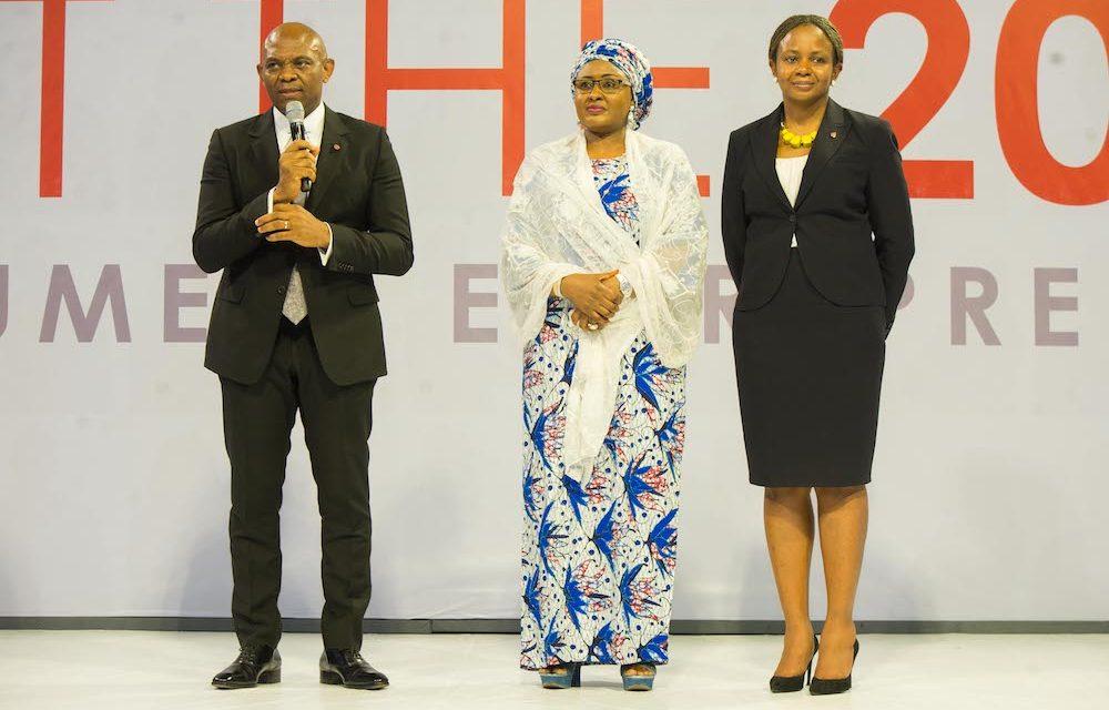 Founder, The Tony Elumelu Foundation(TEF), Mr. Tony Elumelu; Wife to the President of Nigeria, Mrs Aisha Buhari; and Trustee , TEF; Dr Awele Elumelu, during launch of 5th cycle of Tony Elumelu Foundation Entrepreneurship Programme held in Abuja.