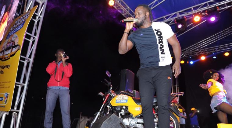 Bebe Cool entertains revelers in Masaka. Bebe Cool entertains revelers in Masaka.