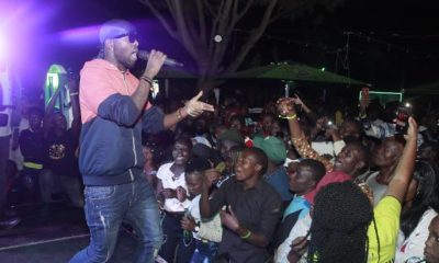 Eddy Kenzo performs at the Neon Rave party in Mbale.