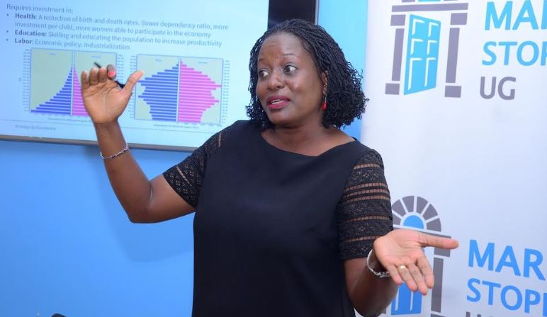 Dr. Carole Sekimpi, the Country director Marie Stopes Uganda addresses media