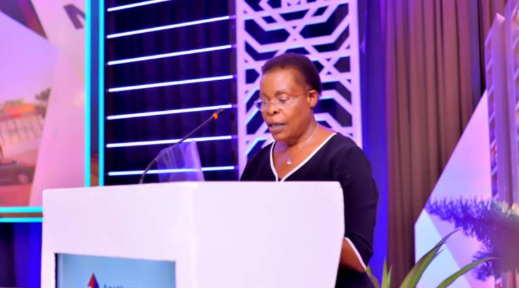 Hon. Betty Kamya addresses guests during the Sustainable Housing and Cities summit held at the Kampala Serena Hotel on Thursday.